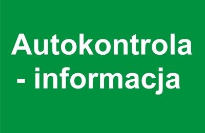 Informacja nt. autokontroli - nabór 2/2020
